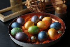 Easter painted chicken eggs stock image