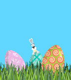 Easter Painted egg and Bunny. Religious holiday.  Royalty Free Stock Photos