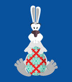 Easter Painted egg and Bunny. Religious holiday.  Royalty Free Stock Photography