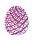 Easter egg in a diagonal cage with flowers. Easter painted egg with geometric ornament in a large lilac cage and a stripe with bright circles and flowers Stock Photography