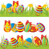 Easter painted eggs. Easter borders with painted eggs Stock Photography