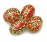 Easter painted eggs. Beautiful Romanian Easter painted eggs over white background Royalty Free Stock Photos