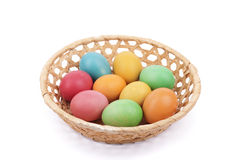 Easter painted eggs in a basket Royalty Free Stock Photography
