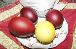Easter painted eggs closeup. Easter painted eggs lie on a plate close-up Stock Image