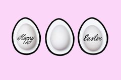 Easter painted eggs on a colored background - symbols of the Easter holiday royalty free stock image
