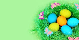 The easter painted eggs on a green. Royalty Free Stock Images