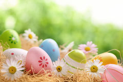 Easter. Painted Easter eggs on hay royalty free stock photo