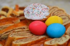 Easter painted eggs and sweets Royalty Free Stock Photography