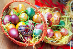 Easter painted eggs on table Stock Photo