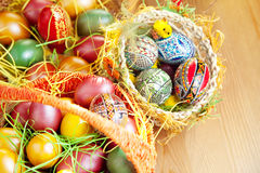 Easter painted eggs in traditional basket Royalty Free Stock Images