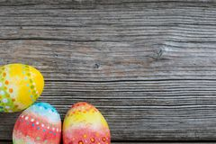 Easter painted eggs on a wooden Royalty Free Stock Photography
