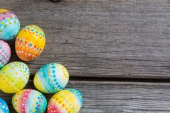 Easter painted eggs on a wooden Royalty Free Stock Photos