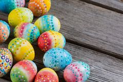 Easter painted eggs on a wooden Royalty Free Stock Images