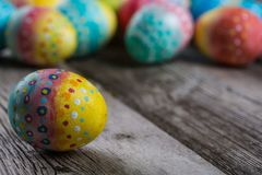 Easter painted eggs on a wooden Royalty Free Stock Image