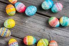 Easter painted eggs on a wooden Stock Images