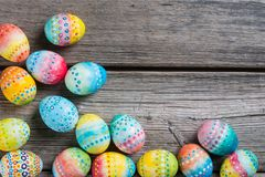 Easter painted eggs on a wooden Stock Image