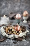 Easter painted shine pearl eggs and feathers. Spring holiday concept stock photography
