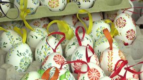 Easter painted and waxed eggs, traditional folk craftsmanship and cultural heritage in Hana in the city of Olomouc in. The Easter Christian holiday and stock footage