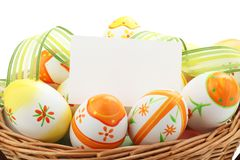 Easter painting eggs with notecard Royalty Free Stock Images