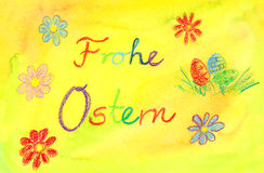 Easter painting with German text Frohe Ostern translates into Happy Easter in English Stock Photo