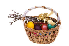 Easter palm catkins and basket with Easter eggs isolated on white background. Stock Images
