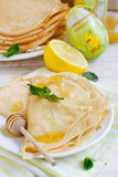 Easter pancakes. With honey and lemon sauce Royalty Free Stock Image