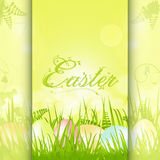 Easter panel background with decorative text. Easter background Panel with Speckled Easter Eggs and Ornate Text Royalty Free Stock Photography