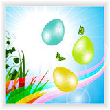 Easter panel with eggs and rainbow Royalty Free Stock Photos