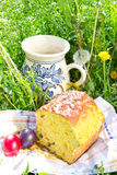 Easter panettone, eggs and jug with compote Royalty Free Stock Image