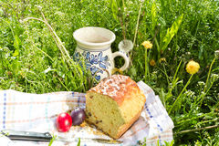 Easter panettone, eggs and jug with compote Royalty Free Stock Photos