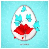 Easter paper-cut style egg on heavenly sky-blue color background with blue butterflies, flower tulip, poppy or rose. With falling petal and holiday Royalty Free Stock Photos