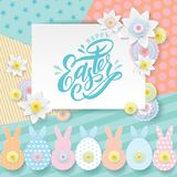 Vector paper cut greeting card. Spring white flowers, cute paper cut out bunny, pascha rabbits on geometric patterns royalty free illustration