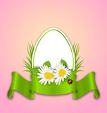 Easter paper egg with flowers daisy, grass, butterfly and ribbon Royalty Free Stock Photography