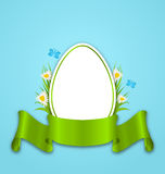 Easter paper egg with flowers daisy, grass, butterfly and ribbon Stock Photos