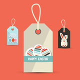 Easter Paper Labels with Rabbit and Eggs Royalty Free Stock Images