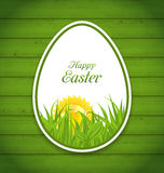 Easter Paper Sticker Egg on Green Wooden Background Royalty Free Stock Photo