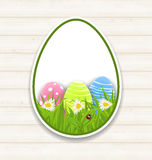 Easter paper sticker eggs with green grass and flowers Royalty Free Stock Photography