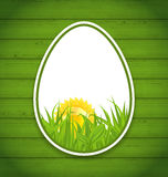 Easter paper sticker eggs on wooden background Stock Images