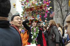 The Easter Parade in front of St. Patrick`s Cathedral on 5th ave Stock Image