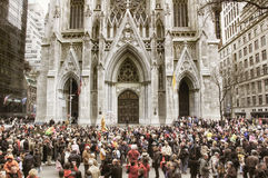 The Easter Parade in front of St. Patrick`s Cathedral on 5th avenue in New York City Stock Image