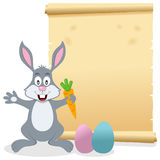 Easter Parchment Scroll with Bunny Rabbit. A Easter invitation card with a cute bunny rabbit holding a carrot, Easter eggs and an old parchment scroll. Eps file stock illustration