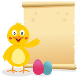 Easter Parchment Scroll with Chick. A Easter invitation card with a cute chick smiling and greeting, Easter eggs and an old parchment scroll. Eps file available royalty free illustration