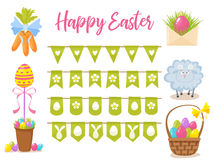 Easter party decoration vector elements. Eggs garland ,lamb, basket with eggs, carrots bouquet, letter with easter Stock Photo