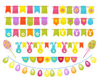 Easter party decoration vector elements. Eggs garland ,tags,and egg tree isolated on white background. Stock Photography