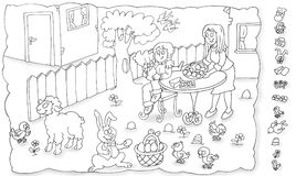 Easter party at his aunt`s house in the yard chine coloring for kids Royalty Free Stock Photo