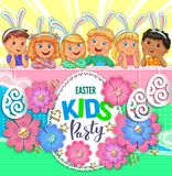 Easter party poster with flowers and children with bunny ears royalty free stock image