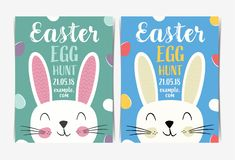 Easter Party poster template with cartoon Rabbit Face. royalty free stock image