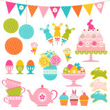 Easter party set. Set of Easter sweets, Easter eggs and party decorations vector illustration