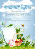Easter paschal bunny and eggs basket vector poster Stock Photography