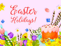 Easter paschal cake egg, willow flower vector card Stock Photo